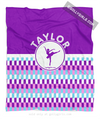 Golly Girls: Personalized Purple Snapped Pattern Dance Fleece Throw Blanket