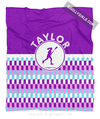 Golly Girls: Personalized Purple Snapped Pattern Lacrosse Fleece Throw Blanket