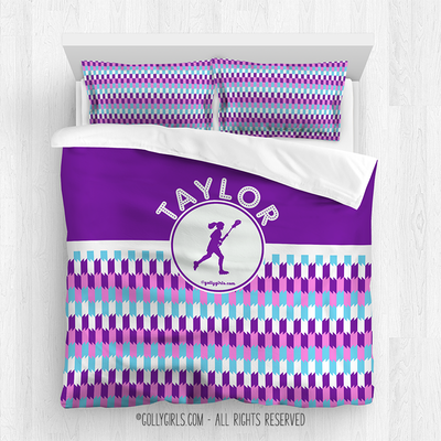 Golly Girls: Personalized Purple Snapped Pattern Lacrosse Comforter Or Set