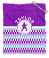 Golly Girls: Personalized Purple Snapped Pattern Martial Arts Fleece Throw Blanket