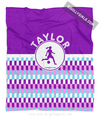 Golly Girls: Personalized Purple Snapped Pattern Soccer Fleece Throw Blanket