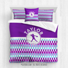 Golly Girls: Personalized Purple Snapped Pattern Softball Queen Comforter Plus Sham Plus Pillow