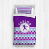 Golly Girls: Personalized Purple Snapped Pattern Softball Twin Comforter Plus Sham