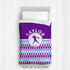 Golly Girls: Personalized Purple Snapped Pattern Softball Comforter Or Set