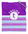 Golly Girls: Personalized Purple Snapped Pattern Volleyball Fleece Throw Blanket