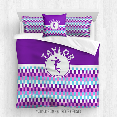 Golly Girls: Personalized Purple Snapped Pattern Volleyball Comforter Or Set