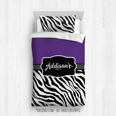 Golly Girls: Personalized Zebra Stripes Purple Gymnastics Twin Comforter Plus Sham