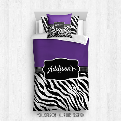 Golly Girls: Personalized Zebra Stripes Purple Gymnastics Twin Comforter Plus Sham Plus Pillow