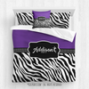 Golly Girls: Personalized Zebra Stripes Purple Volleyball Queen Comforter Plus Sham Plus Pillow