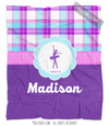 Golly Girls: Personalized Purple Plaid Dance Fleece Throw Blanket