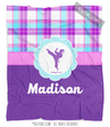 Golly Girls: Personalized Purple Plaid Martial Arts Fleece Throw Blanket
