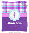Golly Girls: Personalized Purple Plaid Soccer Fleece Throw Blanket