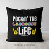 Rockin' The Lacrosse Life Black Throw Pillow - Golly Girls