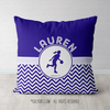 Personalized Simple Blue Chevron Basketball Throw Pillow - Golly Girls