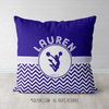 Personalized Simple Blue Chevron Cheerleading Throw Pillow