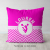 Personalized Simple Pink Chevron Cheerleading Throw Pillow - Golly Girls