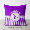 Personalized Simple Purple Chevron Gymnastics Throw Pillow