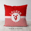 Personalized Simple Red Chevron Cheerleading Throw Pillow - Golly Girls