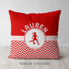 Personalized Simple Red Chevron Soccer Throw Pillow - Golly Girls