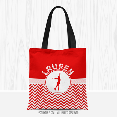 Personalized Multi-Color Chevron Figure Skating Tote Bag - Golly Girls