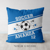 Personalized Jersey Style Name Plus Number Blue Soccer Throw Pillow