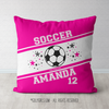 Personalized Jersey Style Name Plus Number Pink Soccer Throw Pillow - Golly Girls