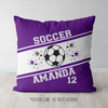 Personalized Jersey Style Name Plus Number Purple Soccer Throw Pillow - Golly Girls