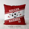 Personalized Jersey Style Name Plus Number Red Soccer Throw Pillow - Golly Girls