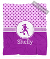 Pink With Purple Stars Personalized Soccer Fleece Throw Blanket