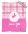 Sweet Peach Plaid Personalized Soccer Fleece Throw Blanket