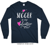 Golly Girls: Soccer is My Valentine Navy Long Sleeve T-Shirt (Youth & Adult Sizes)