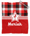 Personalized Red and Black Plaid Soccer Fleece Throw Blanket
