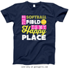Golly Girls: The Softball Field Is My Happy Place Navy T-Shirt (Youth & Adult Sizes)