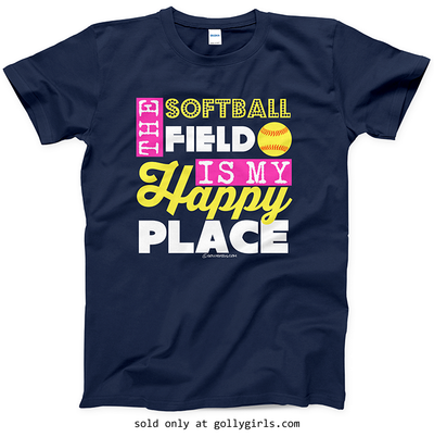Golly Girls: The Softball Field Is My Happy Place T-Shirt (Youth-Adult)