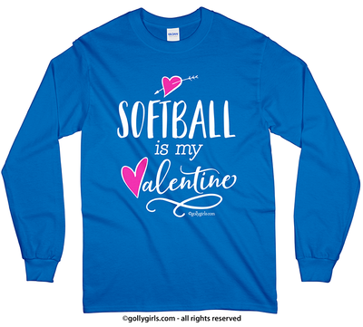Golly Girls: Softball is My Valentine Long Sleeve T-Shirt (Youth-Adult)