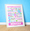 "Golly Girls: Personalized Lots of Hearts Gymnastics Typography 16"" x 20"" Poster"