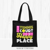 Golly Girls: The Tennis Court Is My Happy Place Black Tote Bag