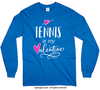 Golly Girls: Tennis is My Valentine Royal Blue Long Sleeve T-Shirt (Youth & Adult Sizes)