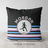 Personalized Ripple Stripes Soccer Throw Pillow - Golly Girls