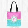 Personalized Tri-Pastel Tile Figure Skating Tote Bag