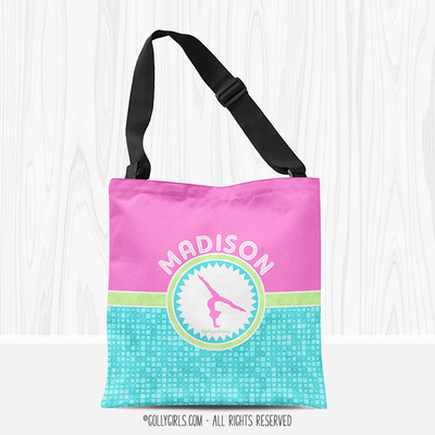 Personalized Tri-Pastel Tile Gymnastics Tote Bag - Golly Girls