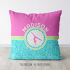 Personalized Tri-Pastel Tile Gymnastics Throw Pillow