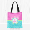 Personalized Tri-Pastel Tile Soccer Tote Bag