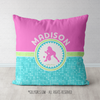 Personalized Tri-Pastel Tile Softball Throw Pillow - Golly Girls