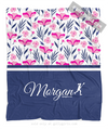 Golly Girls: Tropical Flowers Personalized Lacrosse Fleece Throw Blanket
