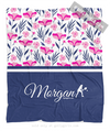 Golly Girls: Tropical Flowers Personalized Tennis Fleece Throw Blanket