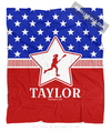 Golly Girls: Personalized Patriotic USA Lacrosse Fleece Throw Blanket