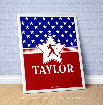 "Golly Girls: Personalized Patriotic USA Softball 16"" x 20"" Poster"