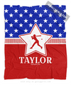 Golly Girls: Personalized Patriotic USA Softball Fleece Throw Blanket