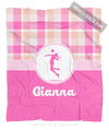 Sweet Peach Plaid Personalized Volleyball Fleece Throw Blanket